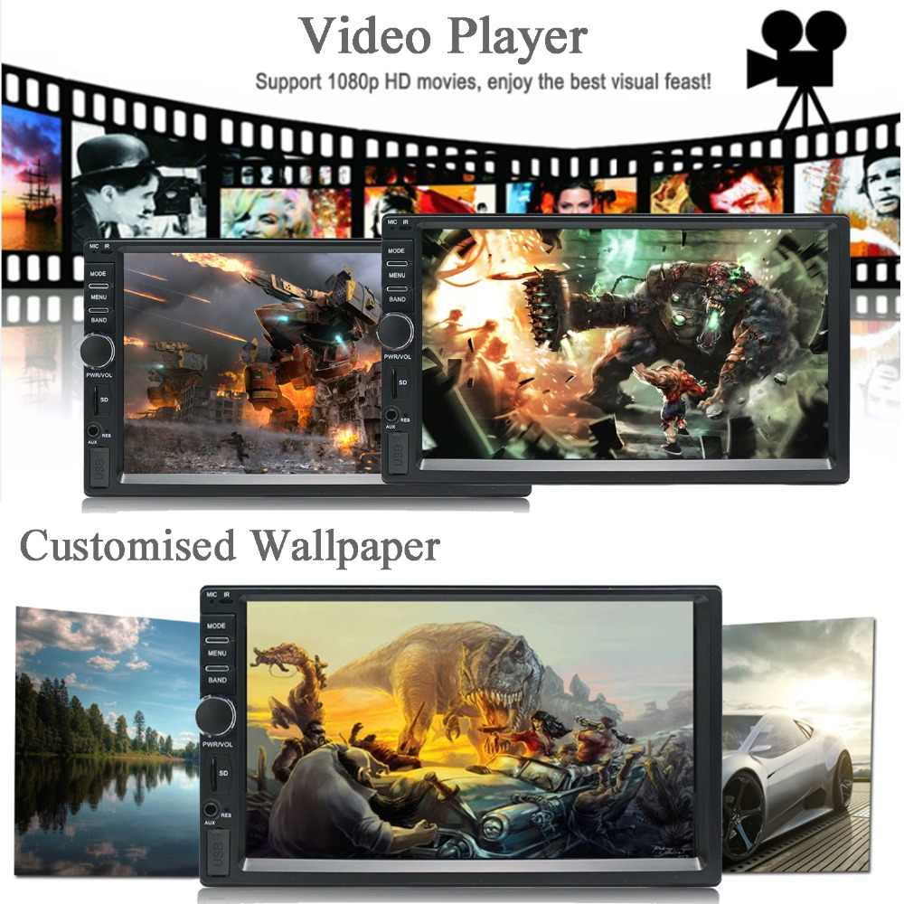 2 Din Car Multimedia Player Music Audio Video Android Car Stereo MP3 MP4  Wi-Fi Bluetooth 7 inch Touch Screen SD USB Slot 1024*60