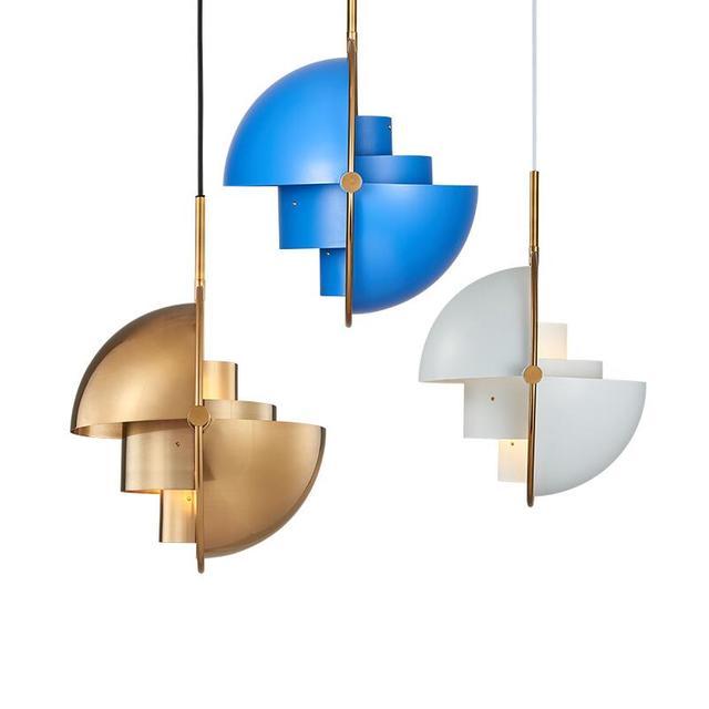 Multi ajustable medio redondo Metal oro/Negro/Blanco/azul colgante luz  lámpara iluminación para comedor habitación Loft Cocina