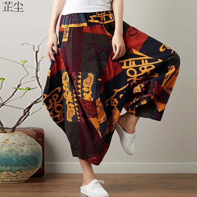 Plus Size Women   Pants   Vintage Art Ethnic Printed Cotton Linen   Wide     Leg     Pants   Woman Elastic Waist   Pant   Pantalones Femme 5XL 2019
