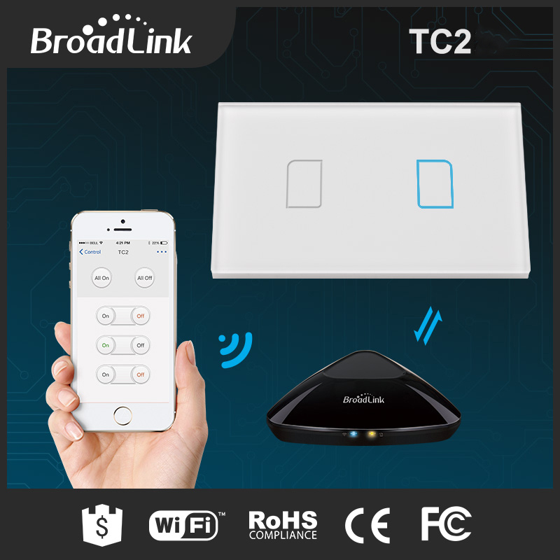 New Broadlink Rm pro RM33 WIFI+IR+RFUniversal Intelligent controller+TC2 2Gang Wireless Glass Touch Wall Light Switch Smart Home