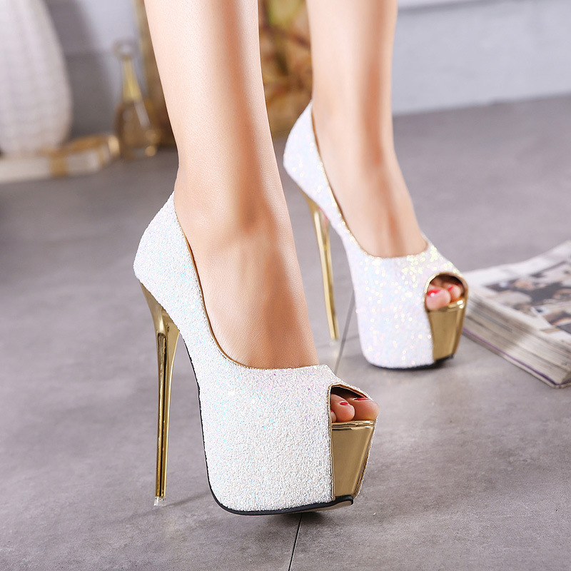 Gladiator Platform Shoes Woman Pumps Sequined Peep Toe High Heels 16CM Sexy Women Shoes High Heels Fashion Wedding Bridal ShoesGladiator Platform Shoes Woman Pumps Sequined Peep Toe High Heels 16CM Sexy Women Shoes High Heels Fashion Wedding Bridal Shoes