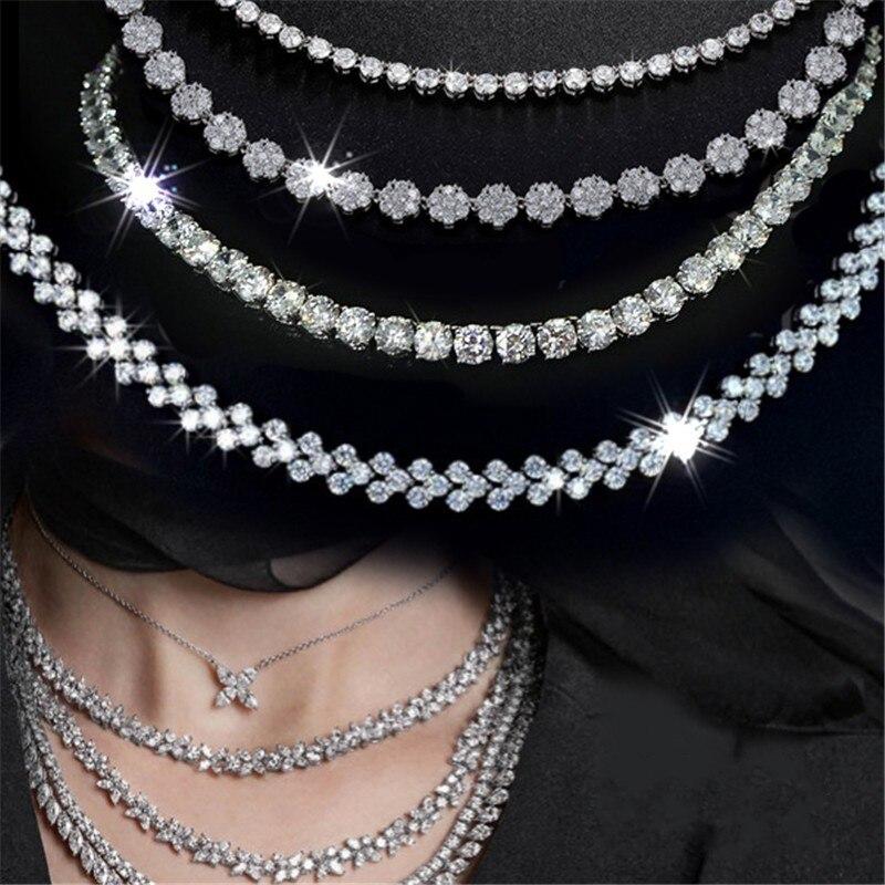 Choucong fait main Tennis collier romain 4mm AAAAA Zircon Cz couleur argent chaîne fête collier de mariage pour les femmes Hiphop bijoux