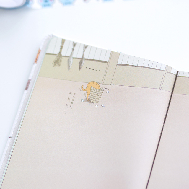 Cute Cat Printed Leather Notebook