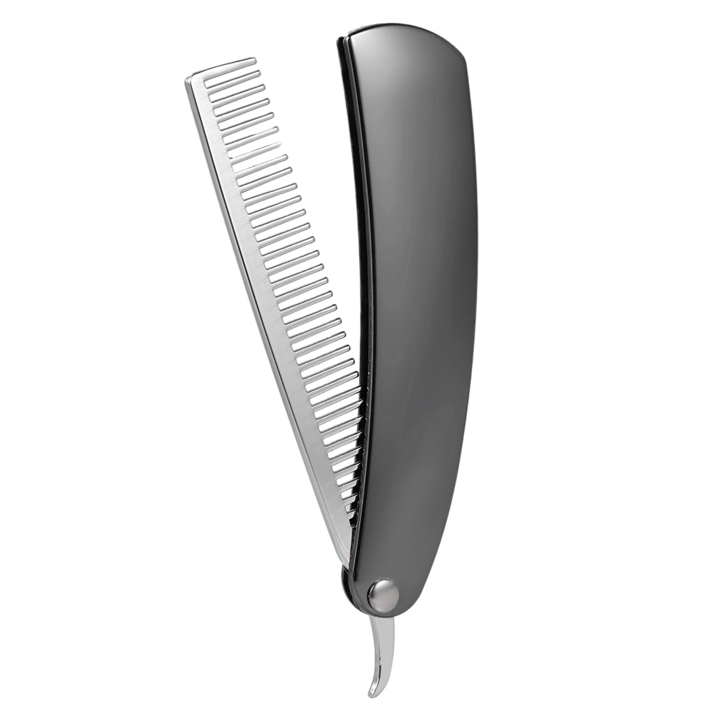 Beard Comb Stainless Steel Shaping Tool Foldable Men Gentleman Beard Trim Shaving Mini Pocket Comb Portable Male Mustache Brush