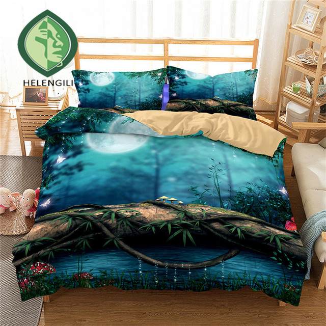 HELENGILI 3D Bedding Set Forest dreamland Print Duvet cover set lifelike bedclothes with pillowcase bed set home Textiles #2-01
