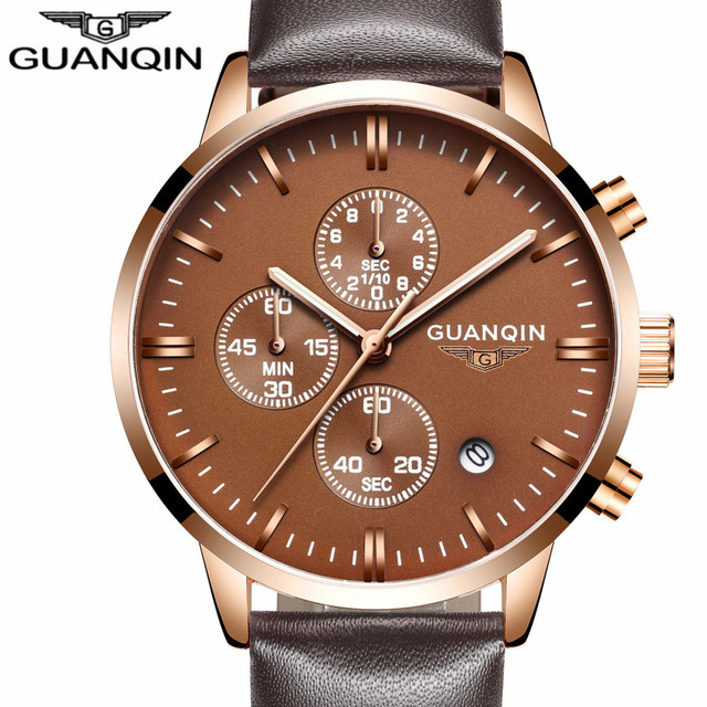 Mens Watches Luxury Military Sport Luminous Wristwatch Chronograph Leather Quartz Watch