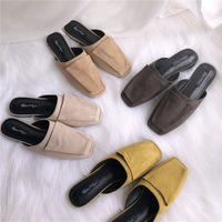 Concise Flat Flock casual shoes 2019 closed toe korean style mules fur slides soulier femme flat sandals women loafer Solid