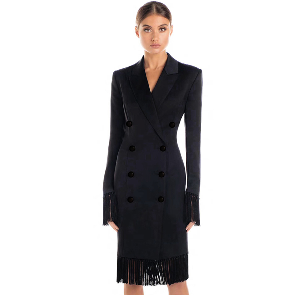 Adyce 2019 New Spring Women Slim   Trenches   Coat Black V-Neck Double Breasted Fringes Coats Long Sleeve Tassels Fashion Club Coats