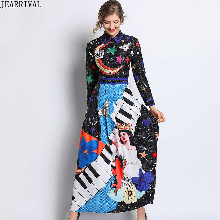c24e9193a0de Designer Runway Dress 2019 Spring Womens Print Vintage Long Dresses Slim  Fashion Elegant Maxi Dress Vestidos