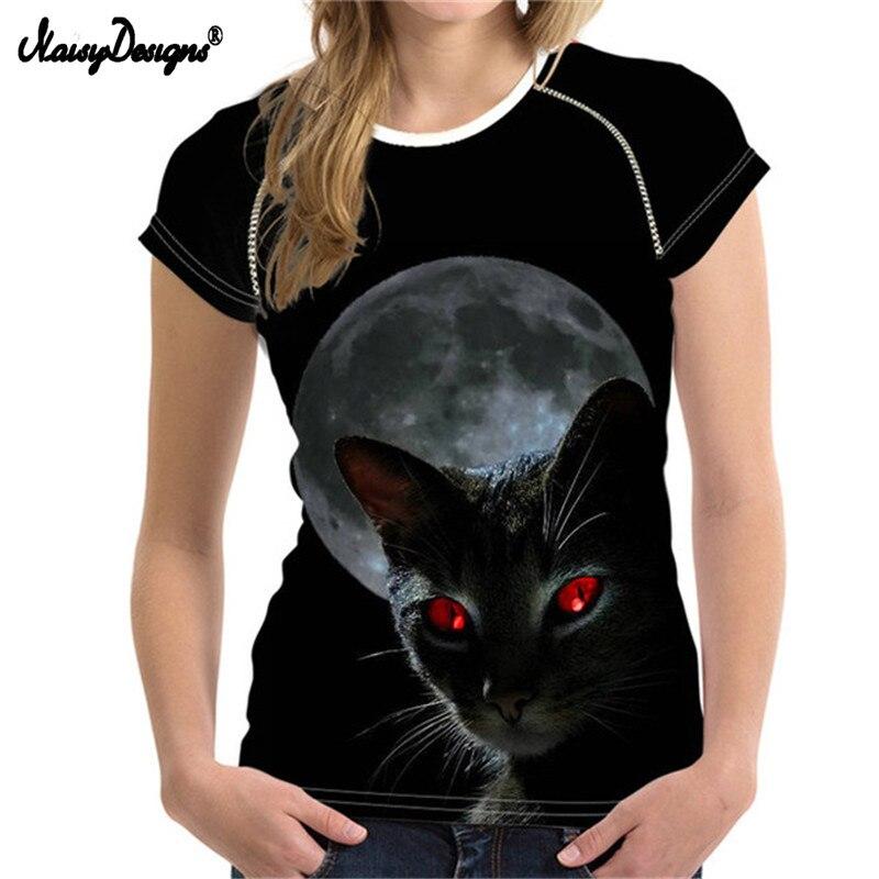 NoisyDesigns Black Cat Women Summer T-shirt Bodybuilding Short Sleeved Moon Light Female t shirt For Ladies Shirts Woman Tops