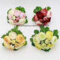 ผ้าไหมP Eonyช่อ10หัวชากุหลาบดอกไม้งานแต่งงานเทียมดอกโบตั๋นดอกไม้สำหรับเพื่อนเจ้าสาวสาวดอกไม...