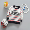 New 2017 spring fashion children's stripe letter T-shirt Boy long sleeve T-Shirt