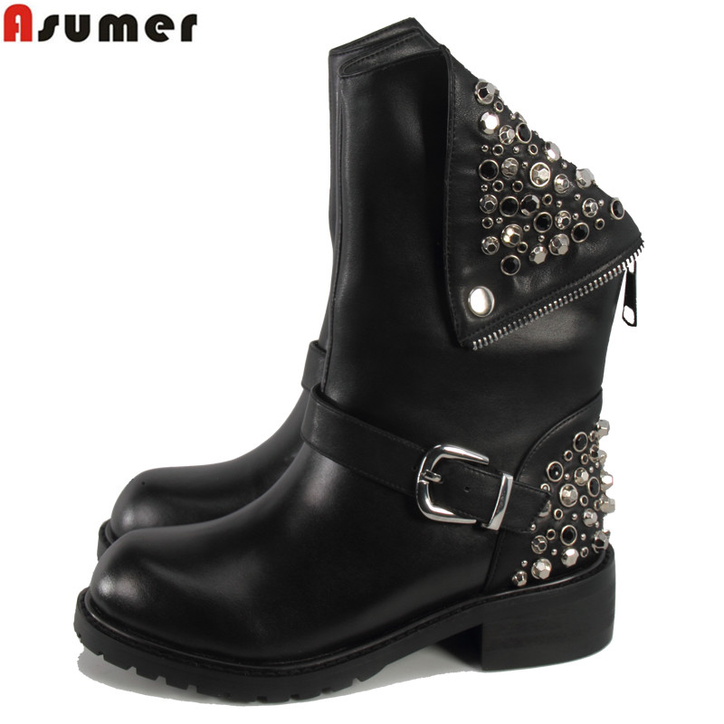 ASUMER Wholesale 2020 New high quality genuine leather ankle boots punk rivets women motorcycle boots buckle snow winter boots