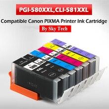 Cartouches dencre pour Canon Pixma TS705/TR7550/TR8550/TS6150/TS6250/TS8150/TS8250/TS9150/TS9150/TS9550, Compatible avec PGI580, CLI581, nouvelle collection