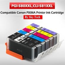 Pgi580 cli581 용 새 호환 잉크 카트리지, canon pixma ts705/tr7550/tr8550/ts6150/ts6250/ts8150/ts8250/ts9150/ts9550 용