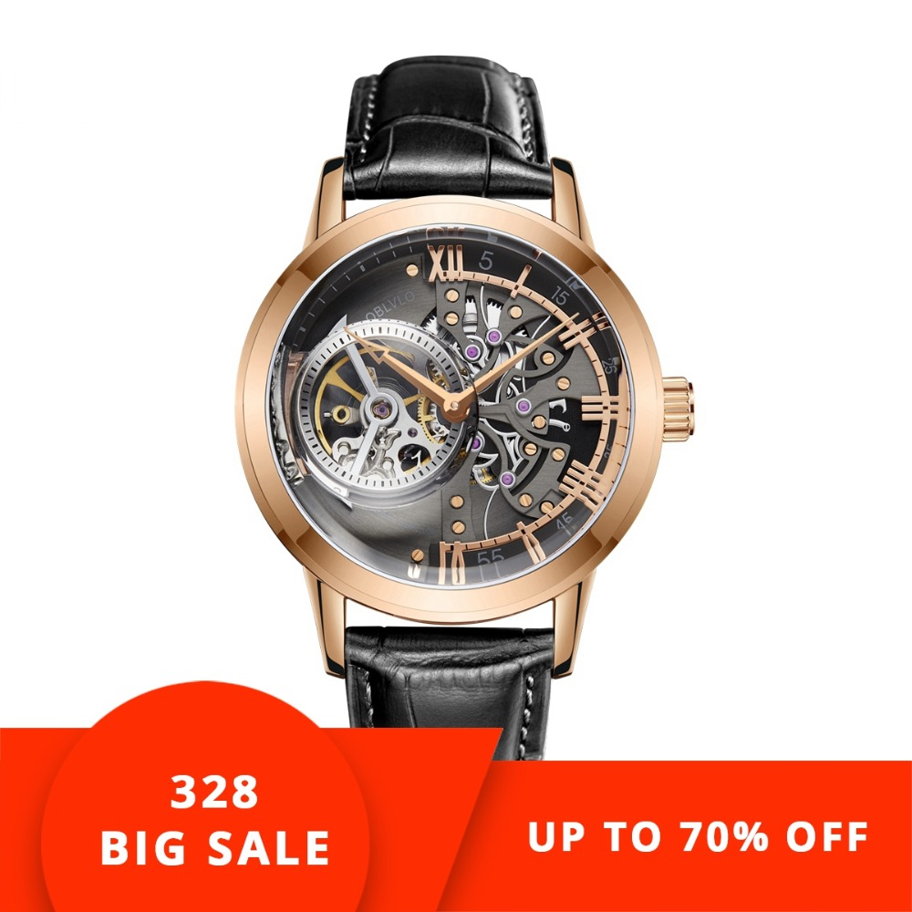 Leather Strap Rose Gold Watch Us 172 9 35 Off Oblvlo Casual Watches Mens Skeleton Dial Calfskin Leather Band Rose Gold Watches Automatic Watches For Men Montre Homme Vm 1 In