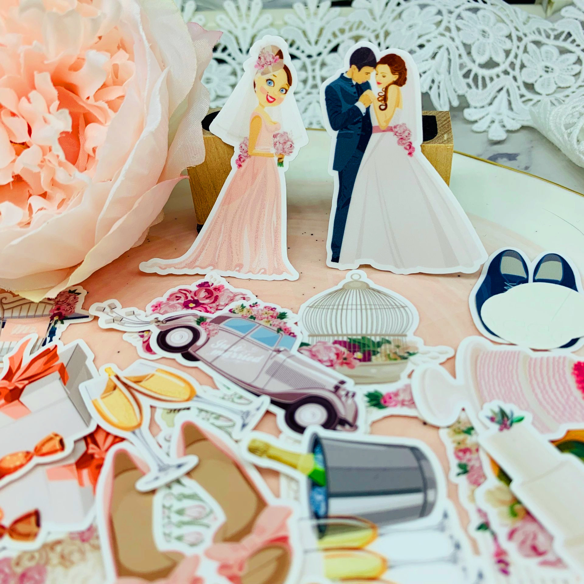 28 Pcs Cute Wedding Party Pattern Paper Stickers For Kids Homemade Book Stickers On Laptop / Decorative Scrapbooking / DIY