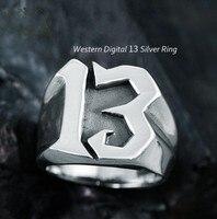 925 Серебряное восьмизубное кольцо, западное цифровое 13 кольцо, мужское кольцо для указательного пальца, атмосферное ретро тайское серебрян