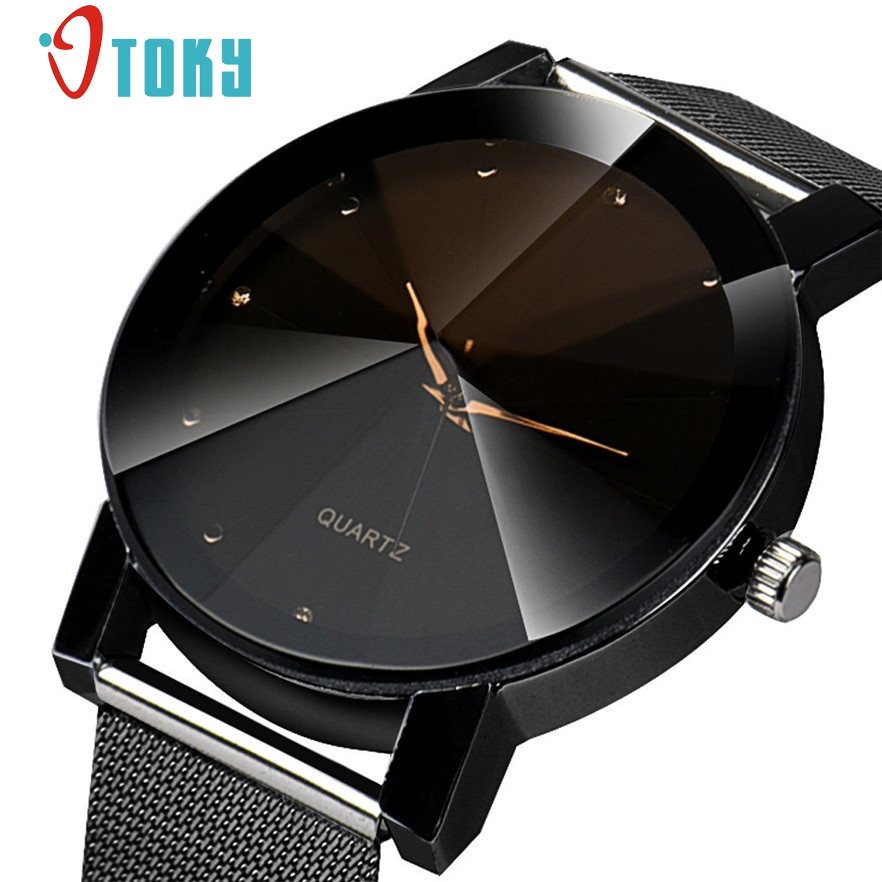 OTOKY Fashion Design Big Dial Black White Quartz Watch Women High Quality Crystal Stainless Steel Watches reloj #40 Gift 1pc otoky montre pocket watch women vintage retro quartz watch men fashion chain necklace pendant fob watches reloj 20 gift 1pc