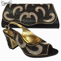 Capputine 2018 Latest Italian Shoes With Matching Bags Women Nigeria Wedding Shoes And Bag To Match With Stones BL735C