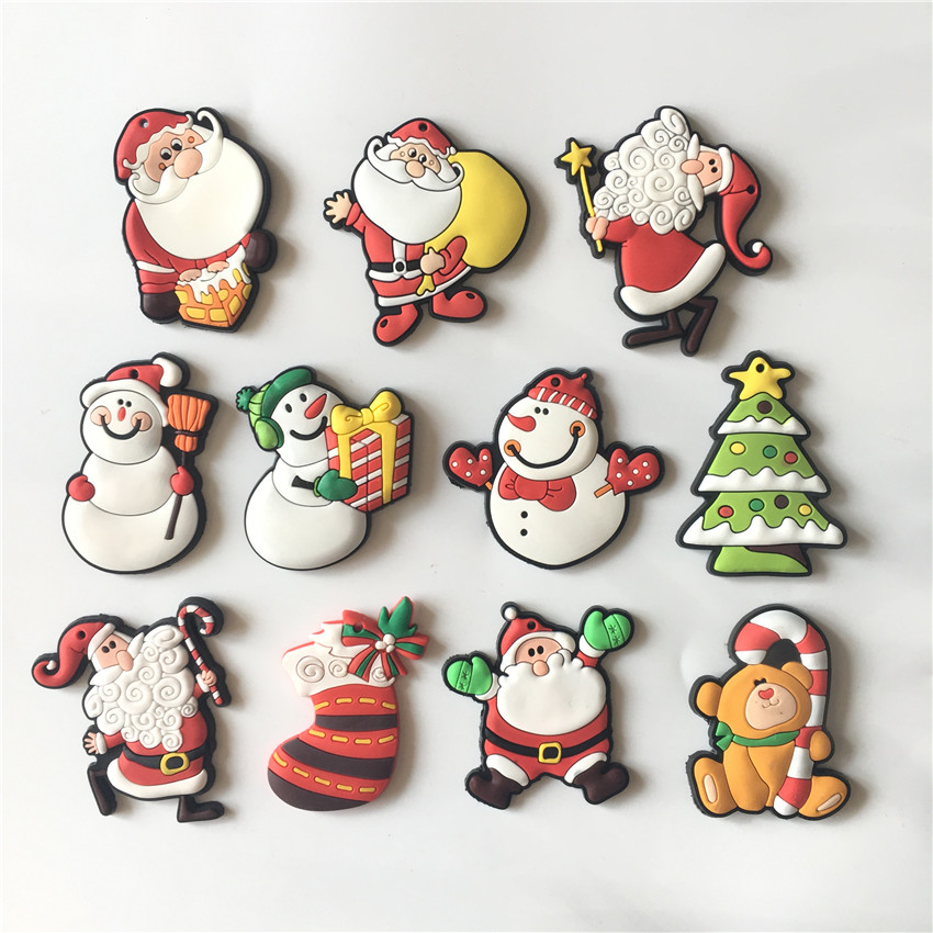 Free shipping (10pcs/lot) Cute Christmas fridge magnets Silicon Gel whiteboard Magnets sticker Novelty X-max gift home decor