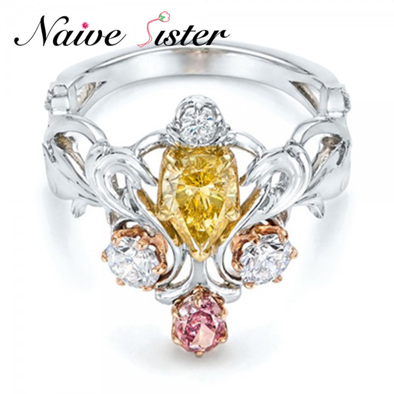 Yellow&Pink&White Three Colors CZ Zircon Fashion Ring Wedding Rings For Women Birthday Stone Gifts Female Party Finger Ring