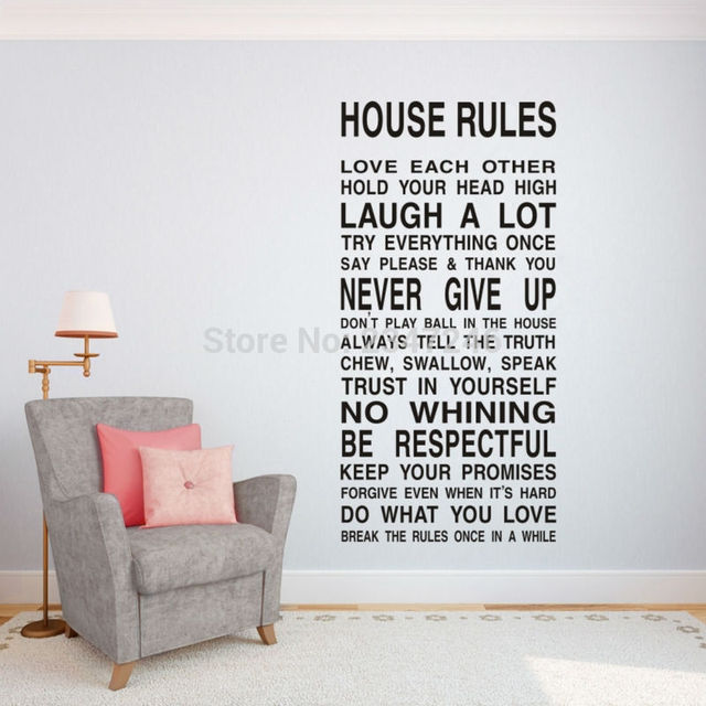 House rules quotes wall decal inspirational art vinyl stickers for living room bedroom decoration