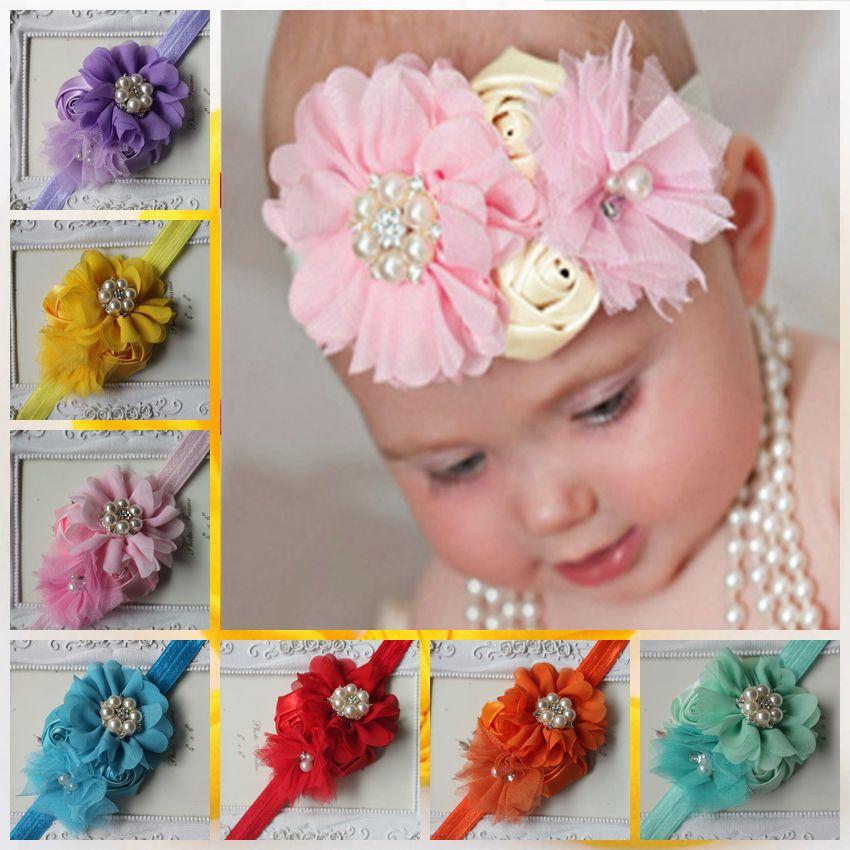 ᐂNiños al por mayor flores de la tela para las vendas del bebé ...