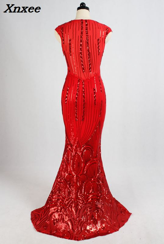 2018 Luxury Red Beads Spandex Dress Long Evening Party Club Woman V Neck Mermiad Sexy Sequined Dress Formal Prom Gowns Vestidos in Dresses from Women 39 s Clothing