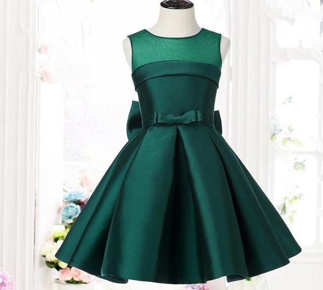 Green Satin Party Dance Baby Girls Dresses for School show Princess ...