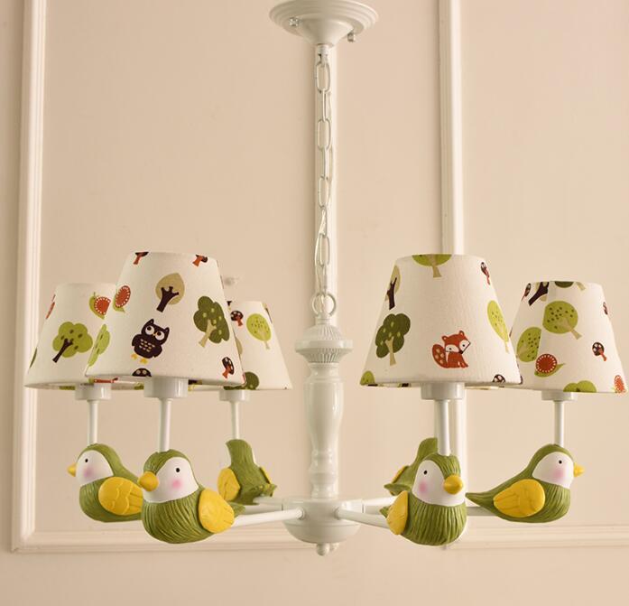 Enfants chambre nordique jardin oiseau pendentif lampes simple garçon fille chambre enfants 3/6/5 têtes pendentif lumières CL