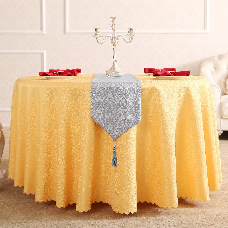hotsale quality jacquard polyester restaurant hotel round table cloth for weddings parties hotels restaurant