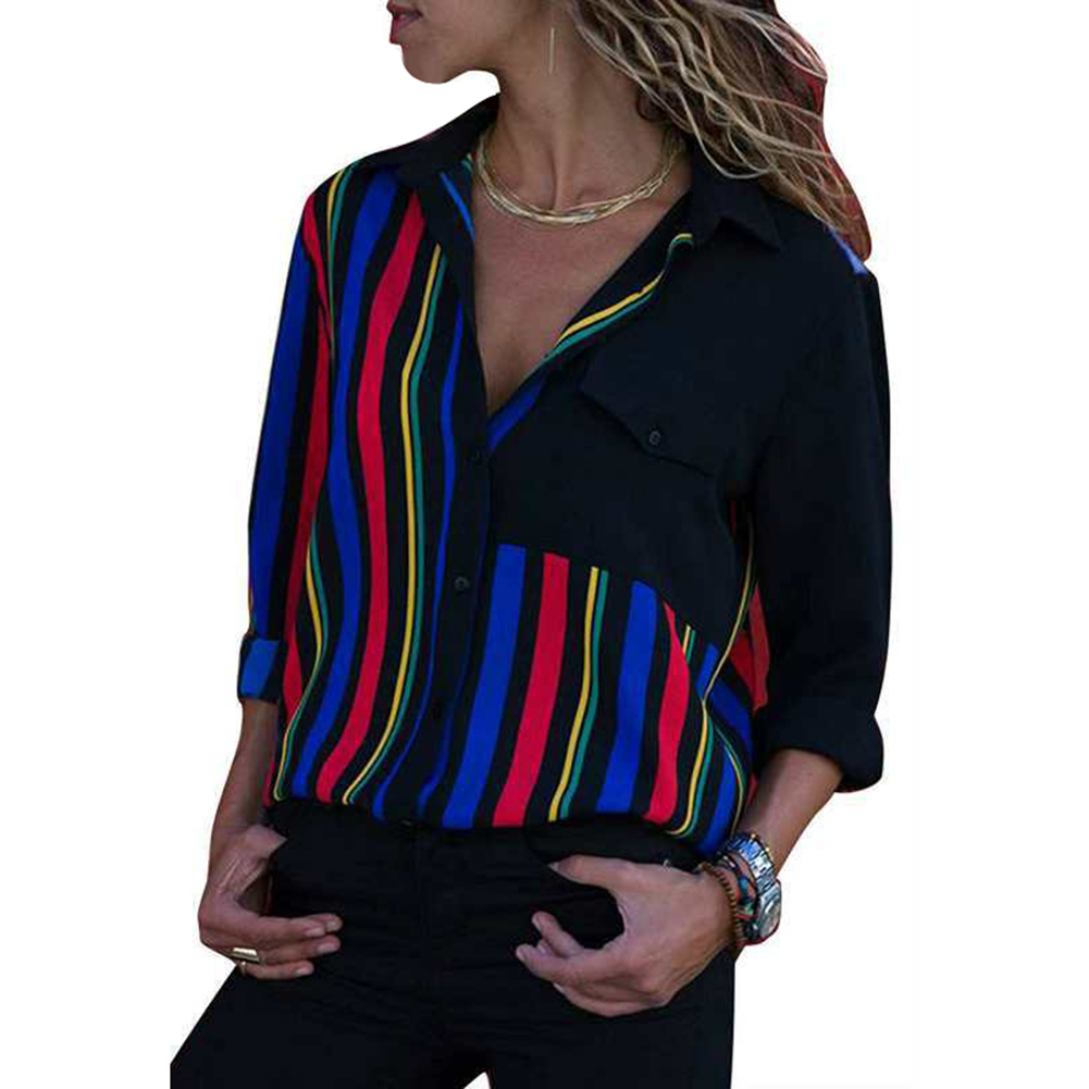 Plus Size 2019 Fashion Summer Lady Shirts Blouse Casual Striped Women Turn Down Collar Long Sleeve OL Harajuku Office Blusas Top in Blouses amp Shirts from Women 39 s Clothing