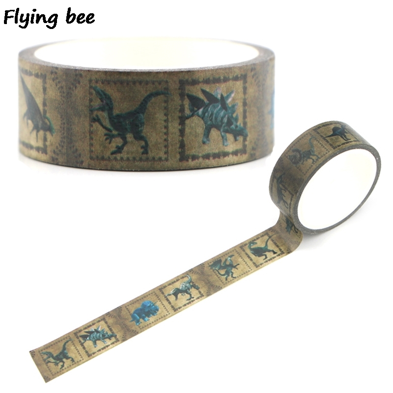 Flyingbee 15mmX5m Dinosaur Paper Washi Tape Animals Creative Adhesive Tape DIY Scrapbooking Sticker Masking Tape X0332