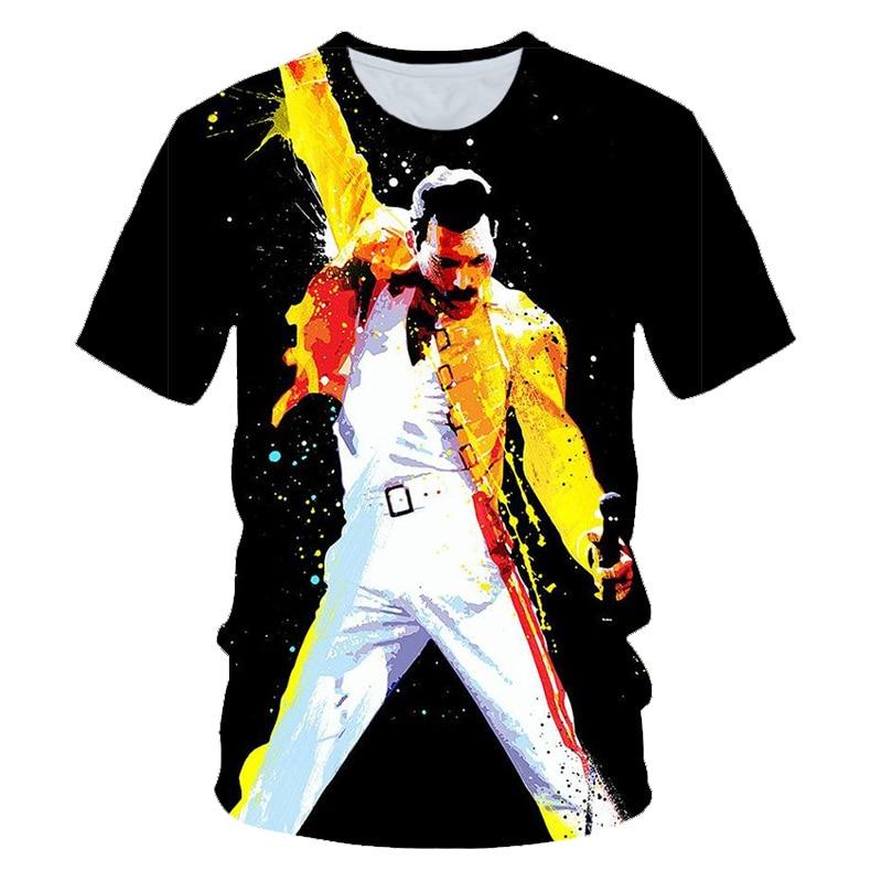 Freddie Mercury The Queen Band T-Shirt Mens Hip Hop Rock Hipster T Shirt Casual Tshirts Harajuku Top TeesStar T-shirt Size S-6XL