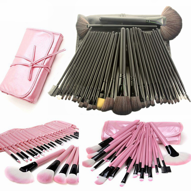 Professional Makeup Brushes 32 pcs Cosmetic Kit Eyebrow Blush Foundation Powder Make up Brush Set With Black Case 8pcs rose gold makeup brushes eye shadow powder blush foundation brush 2pc sponge puff make up brushes pincel maquiagem cosmetic
