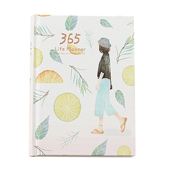 2 PCS of Creative Hardcover Year Plan Notebook 365 Days Inner Page Monthly Daily Planner Organizer Diary, Leaves&Lemon printio платье без рукавов