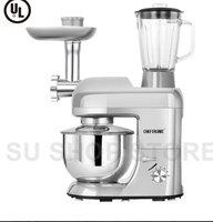 CHEFTRONIC Stand Mixer SM 1086 1000W 5L Bowl 6 Speed Tilt Head Multifunction Kitchen Electric Mixer Machine (Silver)