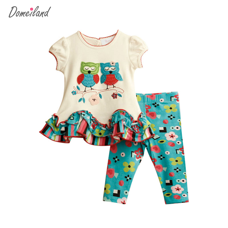 2017 new fashion brand Domeiland girls boutique outfits clothing cotton sets for cute OWL short sleeve pants clothing suits 2016 fashion summer rare editios for girls cute clothing outfits kids short sleeve bow cotton polka dot dress with pants suit