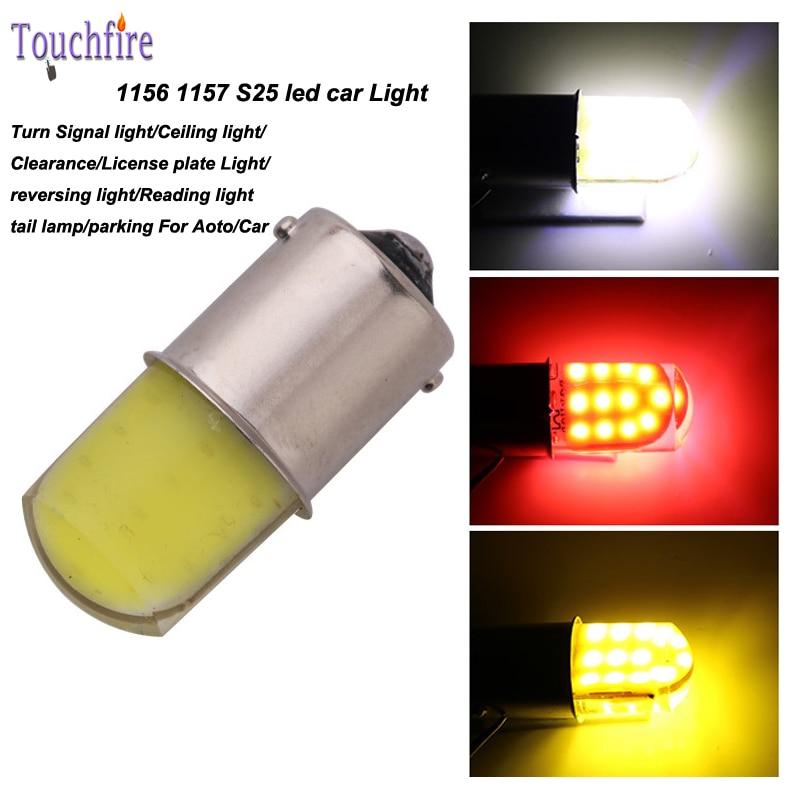 10pcs/lot P21W/1156/BA15S/S25 1157 BAY15D Bulb cob Auto Wedge 80 led lights 12v Width Interior fog Signal brake Lighting Car