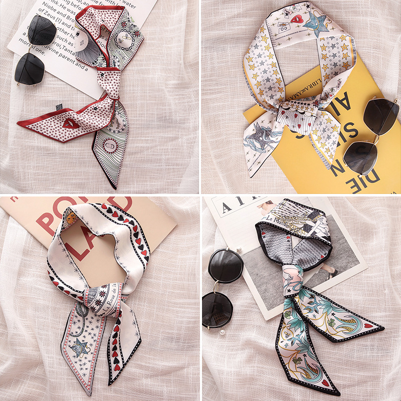 HOT 2019 Tarot Element Constellation Print Women Silk Riband Handle Bags Scarf Small Ribbon Hair Band Headband Scarves & Wraps