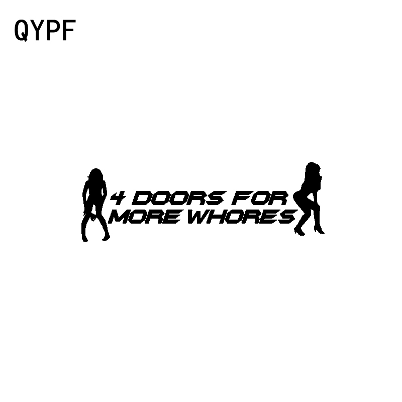 QYPF 18CM*6CM Creative 4 DOORS FOR MORE WHORES Vinyl Car Window Sticker Decal Black Silver C15-3044