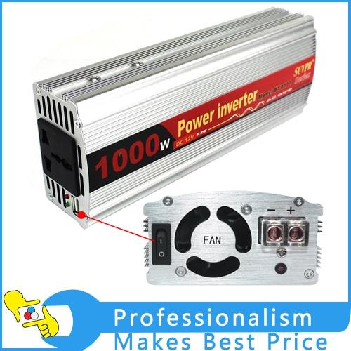 NEW 1000W DY-8111 Car Power Inverter DC 12V to AC 220V LED Light USB Output 100w car dc 12v to ac 110v power inverter w usb power port black