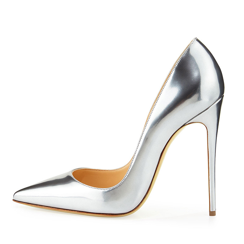 12/10cm Heels Sexy High Heel Shoes 2018 Silver Gold Leather Woman Pumps Super High Night Club Wearings Stiletto Heels 35 42