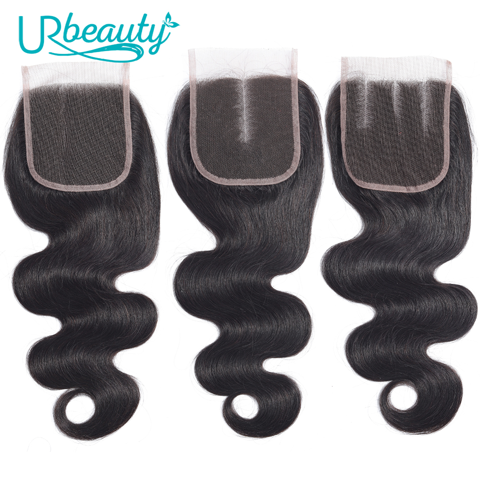 4*4 Lace Closure Peruvian Body Wave 100% Human Hair UR Beauty Natural Color Remy Hair Free Middle Three Part Closure