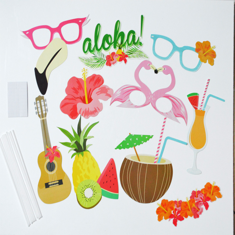 10Pcs Hawaii Style Photo Booth Props Luau Party Wedding Decoration ...