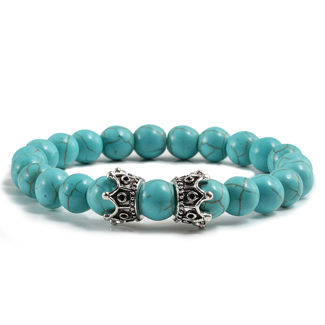 8 Styles Men Bracelets Alloy Sliver Crown Distance Natural Stone Lava Tiger Eyes Bead Strand Bracelet Bangles Yoga Jewelry Gift