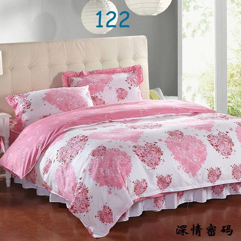 Rose Vert Plaid Coton Lit Jupe Couvre Lit 3 4 Pcs Ensemble De