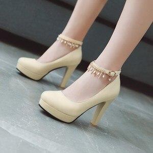 Image 3 - Große Größe 11 12 13 14 15 16 17 damen high heels frauen schuhe frau pumpen Paket die ferse Paket zehen Dick mit sandalen