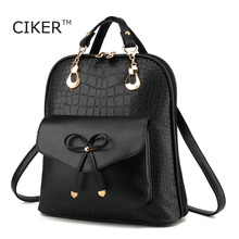 Ciker милые винтажные Мода 2017 г. лук кожаные рюкзаки для женщин опрятный bookbag новый дизайнер рюкзак брендов couro Mochilas Mujer